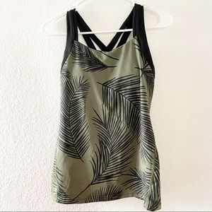 Lucy | Tropical Print Black and Green Tank Top